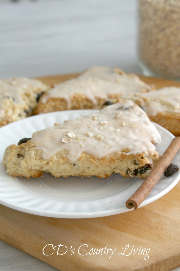 Oatmeal-Raisin Scones with Cinammon Glaze