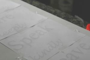 Transferring lettering
