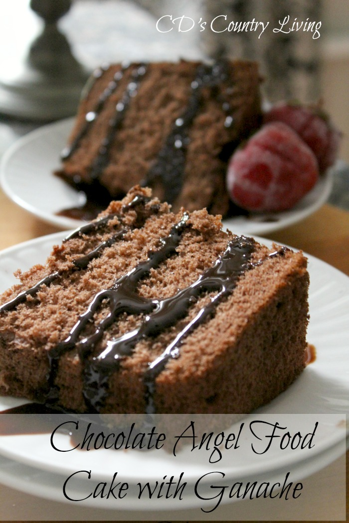 Chocolate Angel Food Cake with Ganache Glaze -