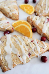 Cranberry Orange Scones-A Buttery Scone filled with tart cranberries and drizzled with a sweet orange glaze!