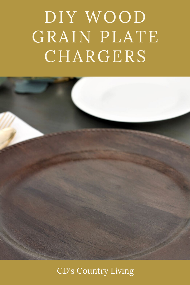 DIY Wood Grain Charger Plate -